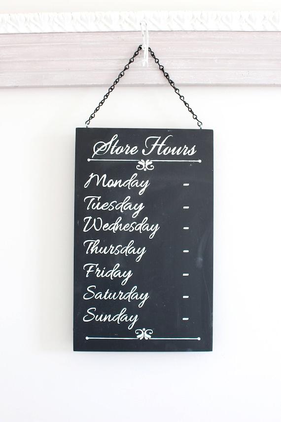 chalkboard sign business hours sign store hours sign. Black Bedroom Furniture Sets. Home Design Ideas