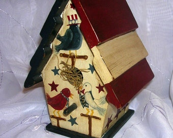 Handpainted Birds 4th of July Birdhouse