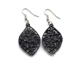 Black Marquise Drops .  Earrings