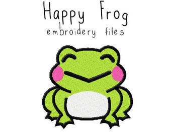 Happy frog EMBROIDERY MACHINE FILES Instant Download multiple sizes animal summer holiday design pattern digital kawaii cute