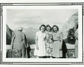 "Vintage Photo ""Visiting Banff and It's Beauty"" Snapshot Antique Photo Old Black & White Photograph Found Paper Ephemera Vernacular - 196"