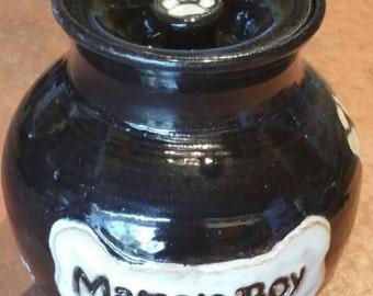 Handmade ceramic urn for medium dog