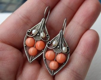 Vintage Sterling Silver Angel Skin Coral and Seed Pearl Filigree Earrings