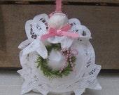 Reserved for KAREN White Angel Ornament, Battenburg Lace Angel, Tree Decor, Christmas Angel, Tree Ornament, Pink & White Angel