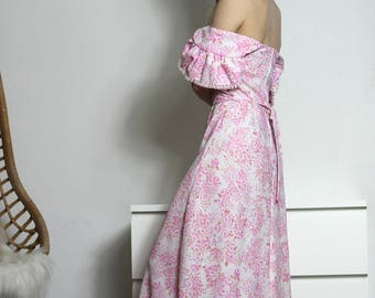 70s Vintage Hippie Dress Pink Floral Romantic Boho Maxi Gown