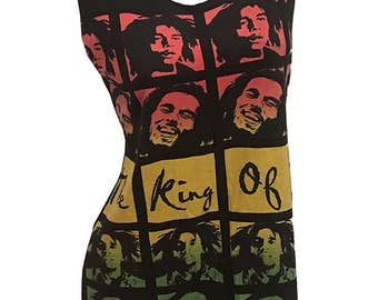 Irie BOB MARLEY King of Music Reshaped 2-Sided T-Shirt / Tunic / Dress sz. M / L