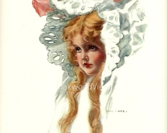 Girl for the Romp by Henry Hutt, Young Blond in a Bonnet, Antique 1910 Edwardian 9x11 Color Bookplate Art Print, FREE SHIPPING