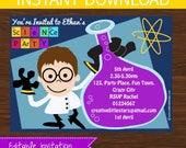 Science Invitation DIY Printable - INSTANT DOWNLOAD - Boy Brown Hair