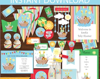 Noah's Ark Party DIY Printable Kit - INSTANT DOWNLOAD -