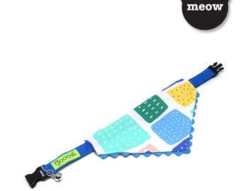 GOOOD Cat Collar   Curly Scarf - Cavalleria Rusticana   100% Blue Blocks & Green Cotton Fabric   Safety Breakaway Buckle