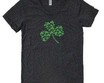 St Patricks Day Irish Shamrock Womens Shirt - T Shirt - Blended - Heather Black Green Ink - Womens Ireland Tee