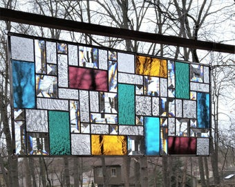 Stained glass window panel jewel tones bevels home decor suncatcher READY TO SHIP