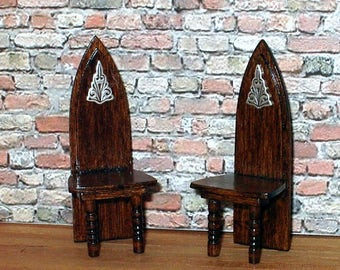 Gothic Chairs, Set of Two (2), Medieval Dollhouse Miniature, 1/24 Scale Size, Hand Made