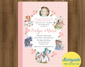 Storybook Birthday Party Invitation with Photo // Nursery Rhyme 1st Birthday Invite in blush pink // Printable or Printed, any age
