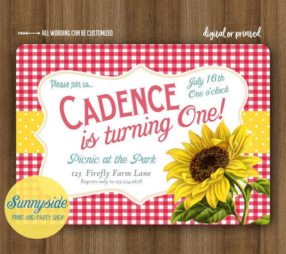 Birthday Picnic Invitation With Sunflower  Gingham Country Party