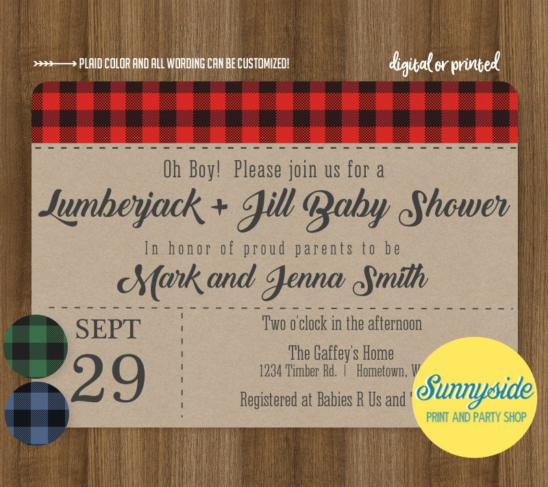 lumberjack jill baby shower invitation co ed baby shower