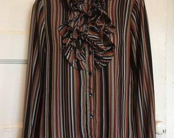 """Vintages striped ruffle blouse/high collar/ 80's/ multi-colored/Victorian style /""""secretary"""" style"""
