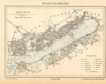 1893 Lake Balaton Original Antique Map