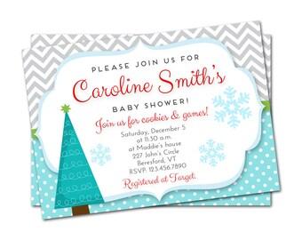 Winter Baby Shower Invitation, Christmas Baby Shower Invitation, Snowflake Baby Shower Invitation, Winter Shower Invitation