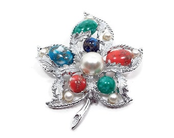 Sarah Coventry Vintage Leaf Brooch Multi Color Cabs and Faux Pearls Silver Tone