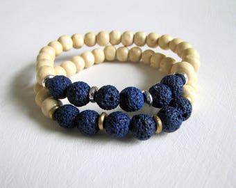 Diffuser Bracelet Navy Blue Lava Stone Bracelet Aromatherapy Bracelet Wood Bracelet Essential Oil Diffuser Stretch Bracelet Yoga Jewelry
