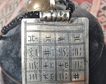 Tuareg Gri Gri Protection AMULET on dark Leather with TIFINAGH signs & Onyx Beads