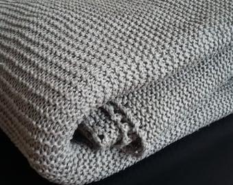 Pure linen throw blanket hand knit-linen bedspread-linen coverlet-linen bed cover-yoga blanket-organic-gray blanket-linen bedding