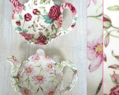 Chintz Floral Ceramic Tea Bag Spoon Rest Holder Made in England