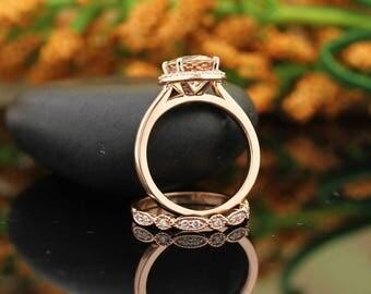 AAA Morganite Engagement Ring Set  Diamond Wedding Ring Set with Art deco Wedding band In 14k Rose Gold Gem1448