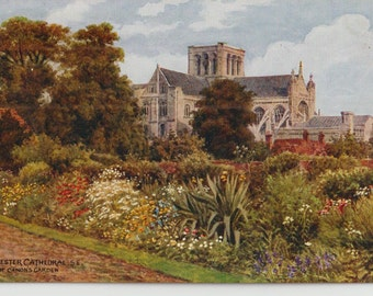 Winchester cathedral - Vintage - Antique postcard - Canon's garden - watercolor  A.R. Quinton - UK - Free shipping Canada USA