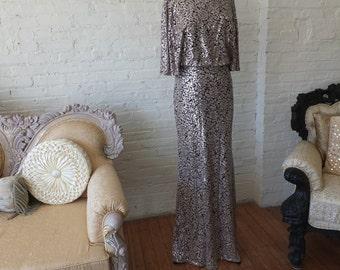 Art deco bias cut butterfly sleeve evening gown wedding dress