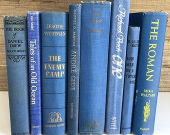 Blue decorative books, Blue vintage books,Home Decor,Interior Design,Decor,Library,Book Stack,Staging,wedding decor, photo prop