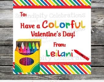 Valentine's Day Favor Tags, Valentine's Day Stickers, Crayon box valentines, Kids Valentine Days Cards, School Valentines, Color my heart