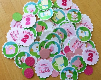Farm Confetti, Farm Birthday Confetti, Farm Animals Party, Mini Circles, Photo Prop, Pink Barn Farm Birthday, Baby Shower, Farm Animals