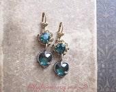 Emerald Green Rhinestone Earrings / Valentine Jewelry / Vintage Assemblage Jewelry / Forest Green Hearts / May Birthstone / OOAK