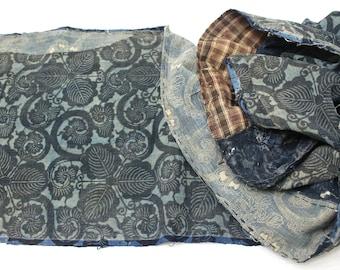 LONG Antique Boro Textile. Japanese Katazome Cotton. Indigo / Aizome Fabric (Ref:1719 )
