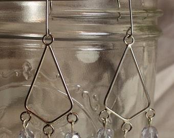 Pale Blue Faceted Glass Chandelier Earrings