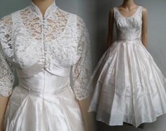 Reserved Vintage 1950s Dress//50s Dress//Tea Length//Fred Perlberg//New Look//Full Skirt Dress//Full Circle Skirt//Matching Jacket//