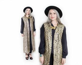Vintage 60s Vest - Gold Metallic Brocade Black Long Waistcoat 1960s - Large L