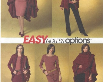 Womens Cape, Jacket, Top, Skirt and Pants Stretch Knits Only McCalls Sewing Pattern M4977 Size 16 18 20 22 Bust 38 40 42 44 UnCut