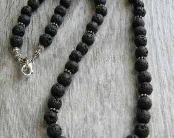 Lava stone necklace mens beaded necklace minimal black necklace men's jewelry masculine necklace rustic jewelry for man beaded jewelry