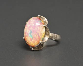 Harlequin Opal Glass Ring Vtg Taxco Sterling Silver Size 7.5