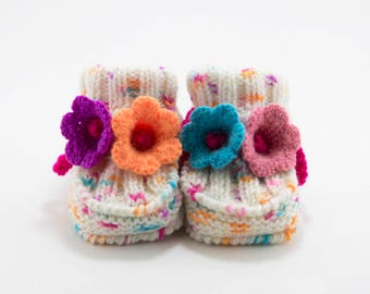 Knitted Baby Booties with Crochet Bell Flowers - Light Pastels,  3 - 6 months
