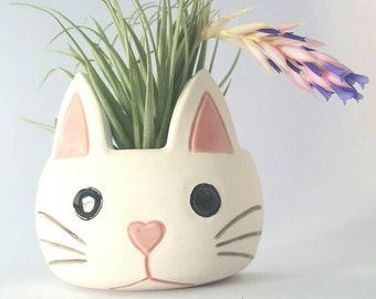 Small Porcelain Frowning Kitty Cat Wall Pocket for Air Plants