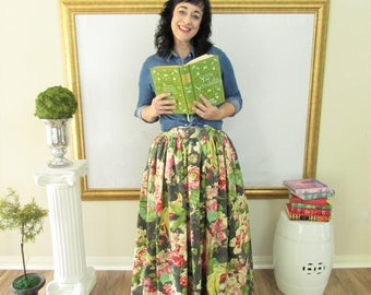 Grey Floral Midi Skirt, Mini Skirt or Maxi Ball skirt  full, gathered skirt all sizes custom made to order