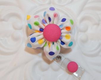 Retractable Badge Holder - Id Badge Reel - Badge Holder - Teacher Lanyard - Flower Badge Holder