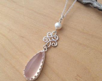 Rose Quartz Pendant, Argentium Silver and Pearl Necklace