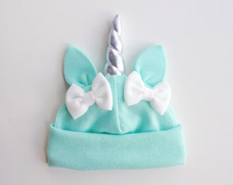Mint Baby Unicorn Hat