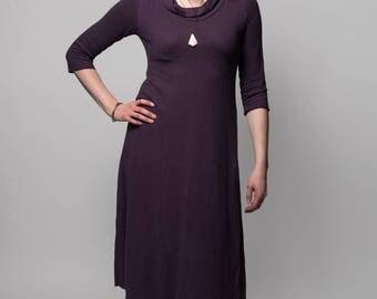 Organic Solstice Dress. Cowl neck. Calf length. Aline. Hemp/organic cotton knit. Below knee dress. Hemp dress. Hemp clothing.