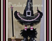 "PRE-ORDER for ""2017""Delivery-Halloween Pink Wicked Witch Stand w/Broom-Wreath Accent-Petals & Plumes ORIGINAL Design©-4 Available for Orders"